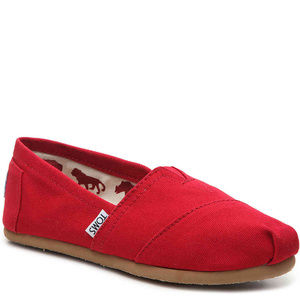 Authentic Womens Toms Classic Canvas Slip Ons RED